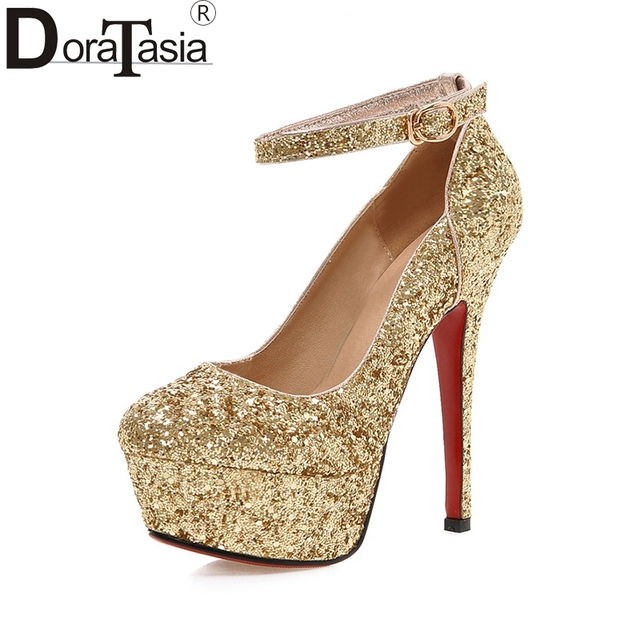 677ddd236f356 DoraTasia Wholesale Big Size 32-43 Pumps Shoes Women Spring Bling Upper  Thin High Heels Sexy Party Wedding Bride Shoes Woman