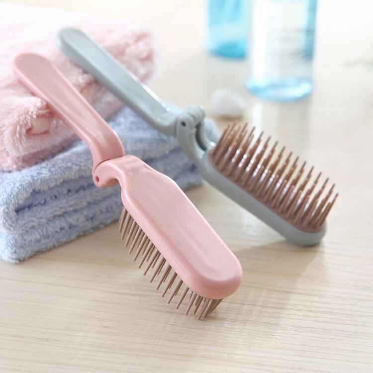 Pocket Folding Hair Brush Portable Collapsible Travel Essentials Scalp Massage Plastic  Brush Hairdressing