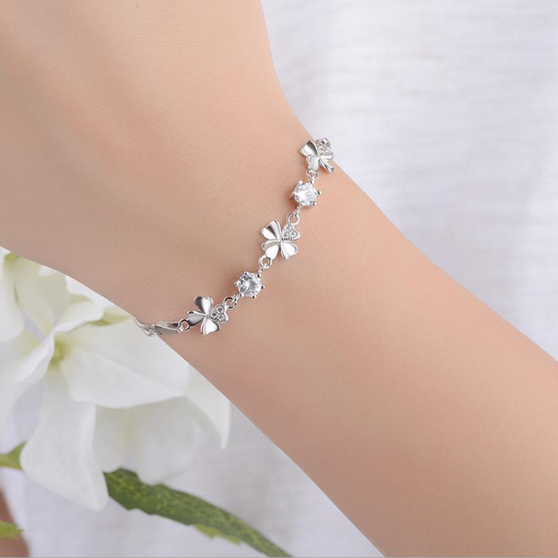 New Fashion 925 Sterling Silver Women Bracelets Jewelry Top Quality Crystal Clover Female Anklets For Girl Party Bijoux
