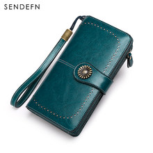SENDEFN Women Clutch New Wallet Split Leather Female Long Wallet Women Zipper Purse Strap Coin Purse For iPhone 7 5162S2-8(China)