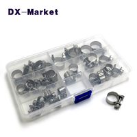 6mm 18mm clamp kit, 6size 30pcs , 304 stainless steel mini hoop pipe clamp adjustable clamp hardwaer , Hose clamps T0157