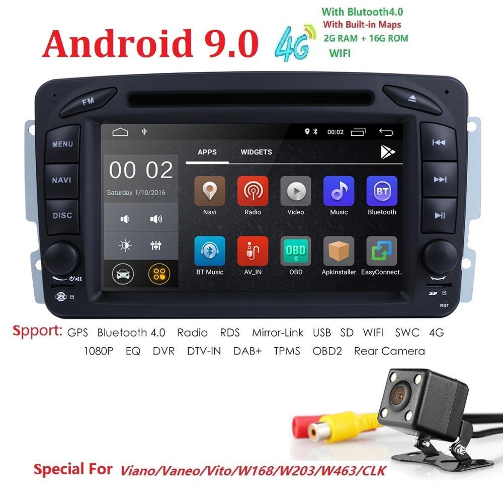 Lecteur multimédia de voiture Android 9 2 Din Autoradio GPS pour Mercedes/Benz/CLK/W209/W203/W208/W463/Vaneo/Viano/Vito FM DSP DVR DVD BT