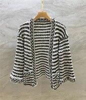 Подиумная мода женский кардиган весна лето мода белый черный вязаный длинный рукав женские свитера