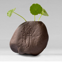 Free shipping Small Potted Bonsai Mini Plants Set Flower Vase Antique Imitation Carved Buddhism Stone Home Decoration