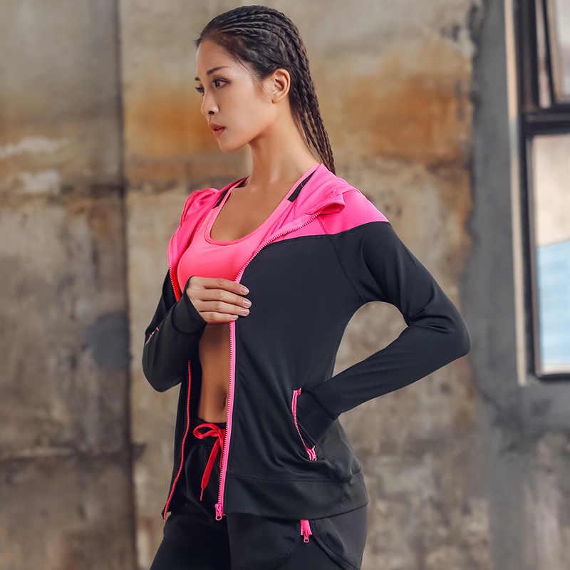 С капюшоном Для женщин куртка для бега для большого пальца Йога куртка на молнии Фитнес Костюмы Топ Спортивная Женская одежда