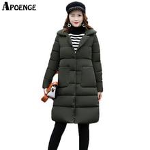 APOENGE Long Jacekt Women Korean Style Turn Down Collar 2017 Winter Coats and Jackets High Quality
