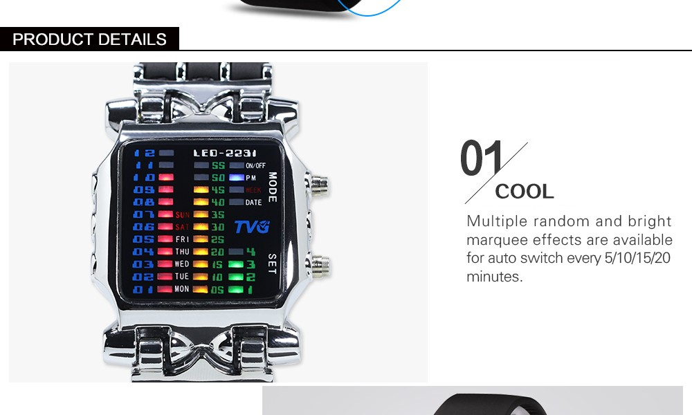 Luxury Brand TVG Watches Men Fashion Rubber Strap LED Digital Watch Men Waterproof Sports Military Watches Relogios Masculino 6