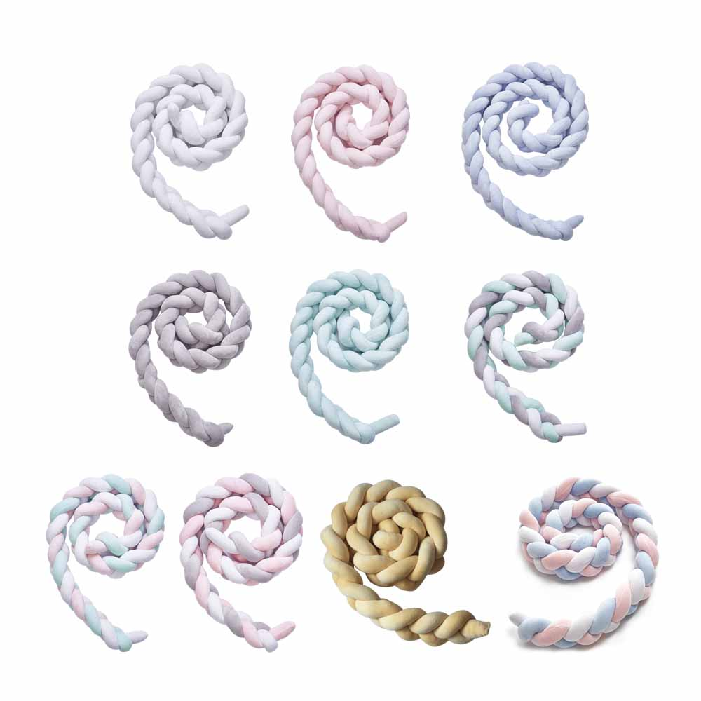 Baby Handmade Nodic Knot Newborn Bed Bumper Long Knotted Braid Pillow Baby Bed Bumper Protector Infant Room Decor