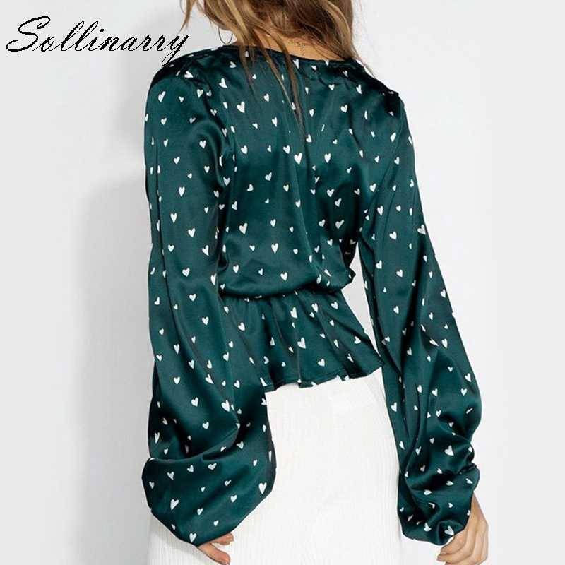 Sollinarry ארוך שרוול סאטן נשים חולצות וחולצה עבודה ראפלס בציר קצר חולצות חולצות נשים V העמוק צוואר סקסי Blusa mujer