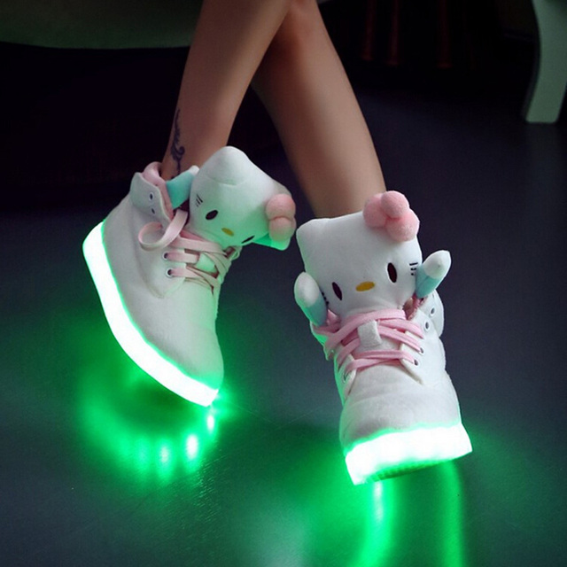a0c215113 2015 Hello Kitty LED Shoes For Women High top Luminous USB charging Casual  Glowing chaussure lumineuse Light Up Shoes for adults