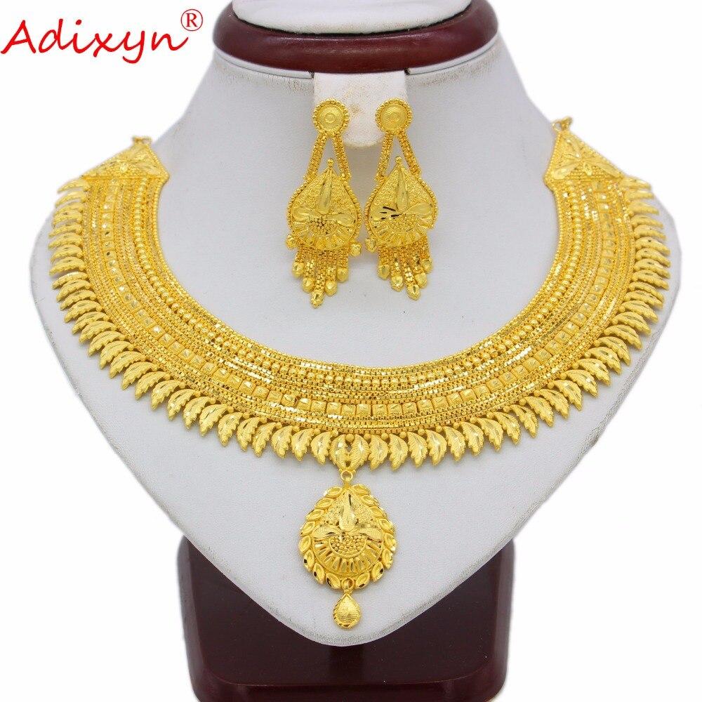 Adixyn nuevo collar Flexible pendientes conjunto joyería mujeres niñas Color oro/Cobre árabe/etíope/Africano regalos de novia n042511-in Conjuntos de joyería from Joyería y accesorios    1