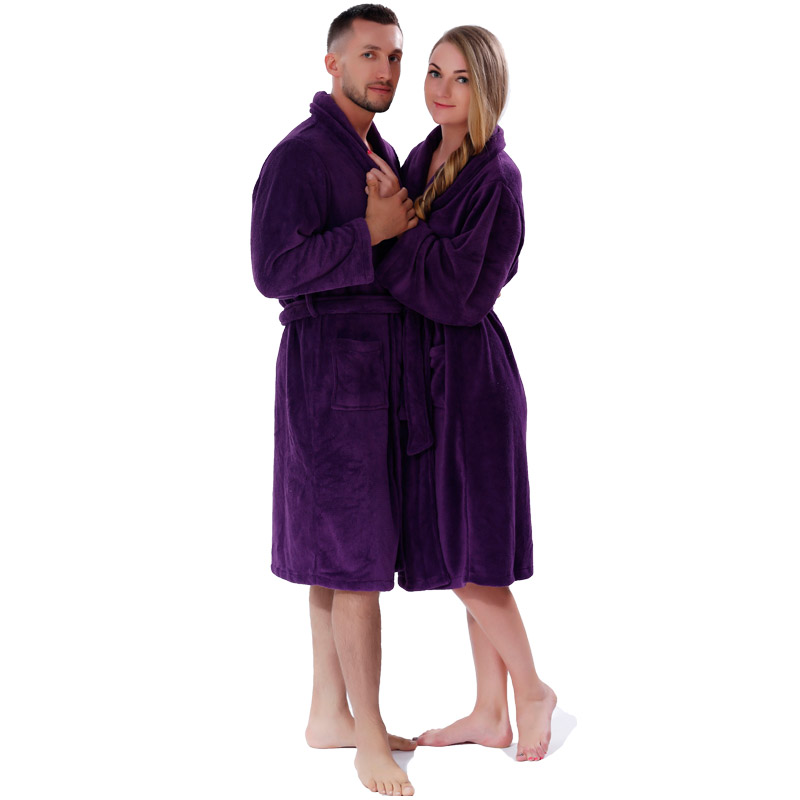 Lovers Winter Thickening Warm Bathrobe Plus Size Coral Fleece Solid Color Men Women Dressing Gown Sleepwear Robe For Couples