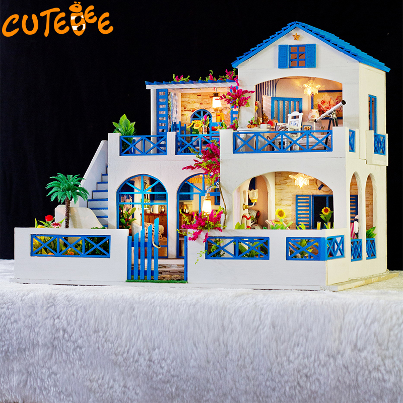 CUTEBEE Doll House Miniature DIY Dollhouse With Furnitures Wooden House  Toys For Children Birthday Gift K006 cutebee new house wooden pretend play