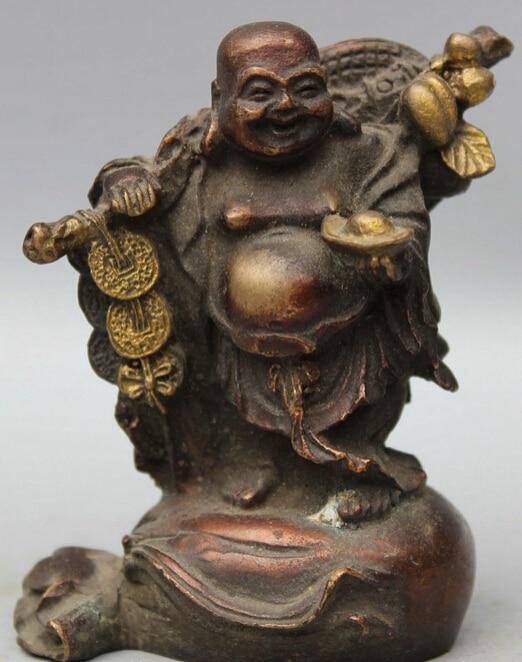 Yellow Chinese Bronze Stand Money Bag Wealth Happy Laugh Maitreya Buddha Rich Statue S0705 (B0328)