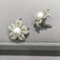 10 11 мм натуральный пресноводный жемчуг Клип серьги 925 серебро цветок серьги проложить камень милый романтический изысканные женские ювелир