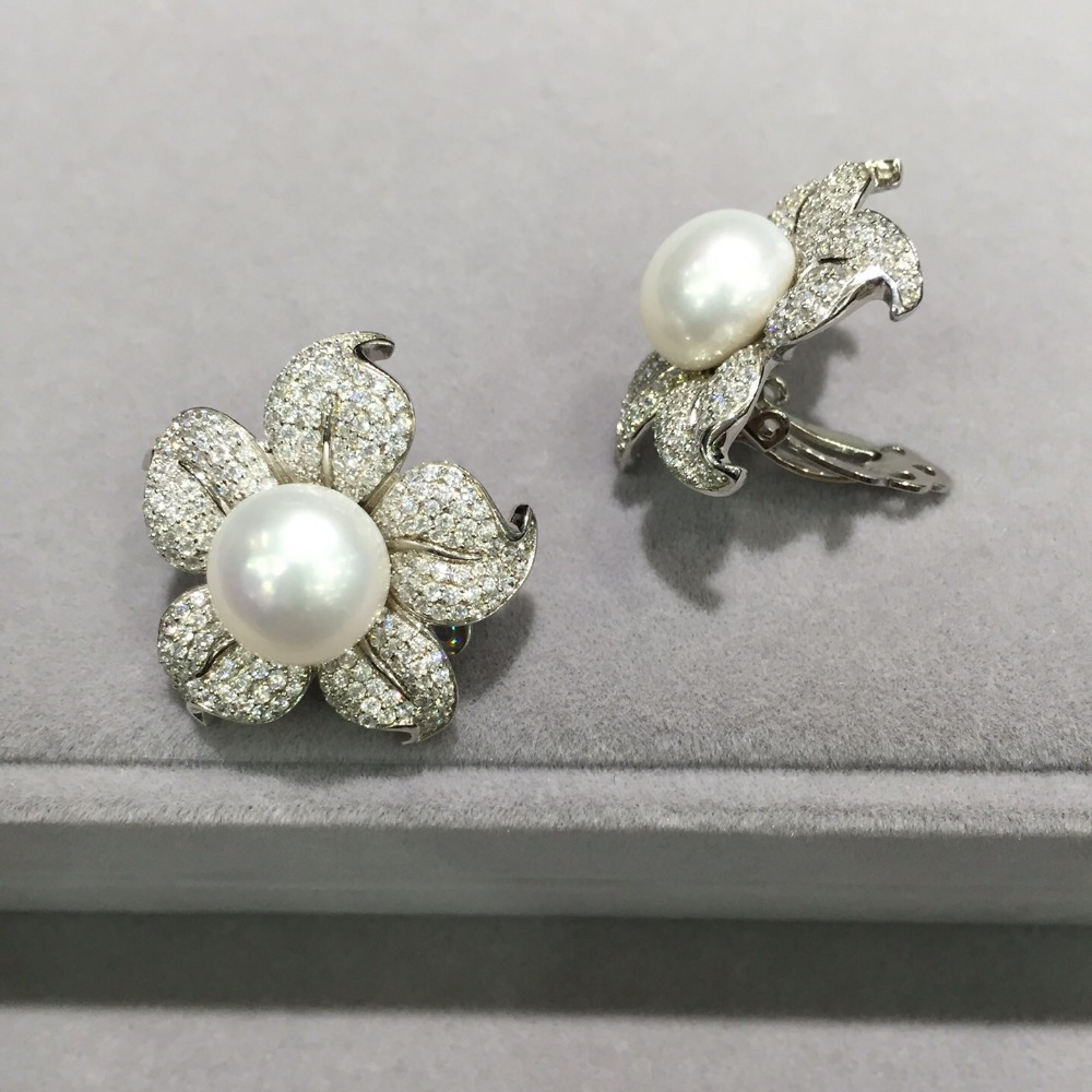 10 11MM natural fresh water pearl clip earring 925 sterling silver flower earring pave stone cute romantic fine women jewelry