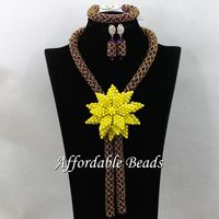 Vintage Bridal Beads Jewelry Set Popular Costume Jewelry Necklace Sets Simple Design HEB053