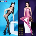 New Sexy Candy Colors Plus Big High Waist Shiny Glossy Oil Stocking Open Crotch Bodysuit Pantyhose Tight Erotic Sexy Lingerie 10