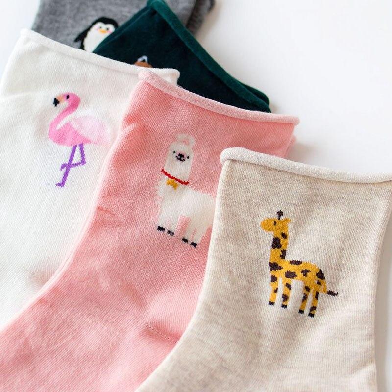 Women-Cotton-Socks-2018-New-Fashion-All-seasons-Cartoon-Flamingo-Pattern-For-Ladies-Trend-Harajuku-Loose(4)