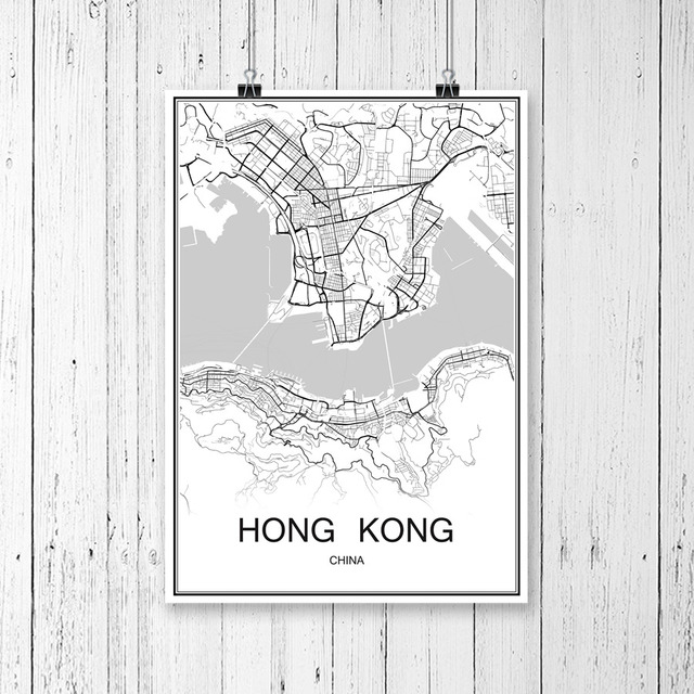 World city map hongkong china print poster abstract coated paper bar world city map hongkong china print poster abstract coated paper bar cafe pub living room home gumiabroncs Choice Image