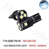 50/100 Pcs New Canbus Error Free T10 W5W 194 168 3030 7 SMD LED High Power Car Auto Wedge Lights Parking Bulb Lamp 12V 24V