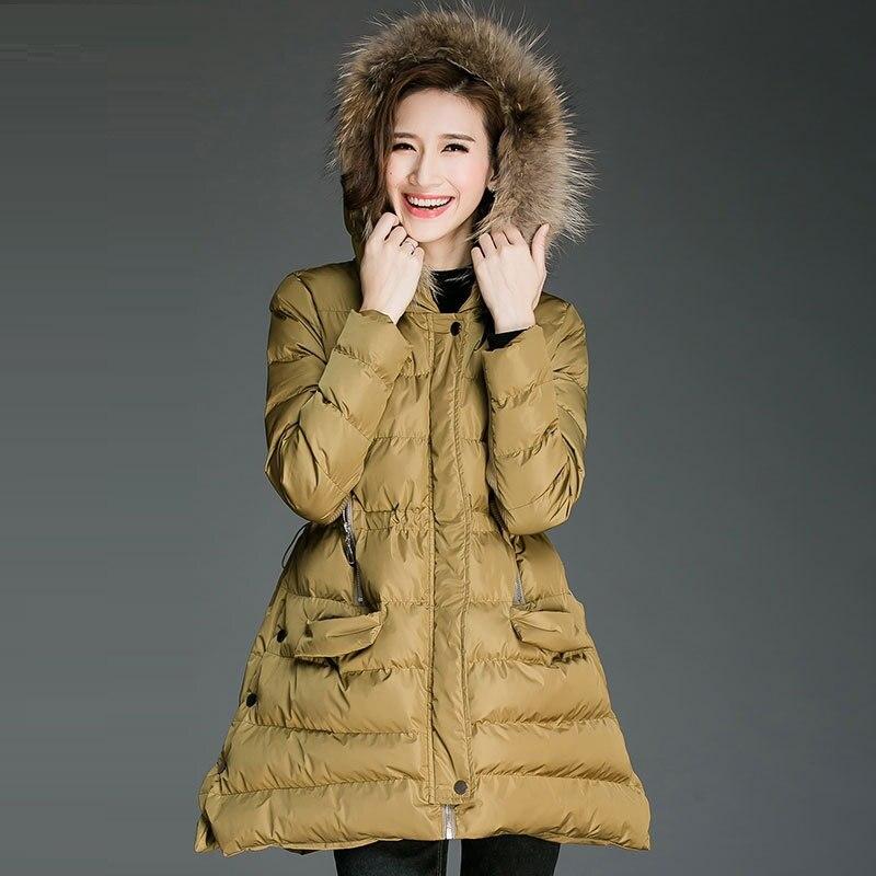 mujeres Del Invierno con capucha Wadded hembra capa más tamaño engrosamiento ca