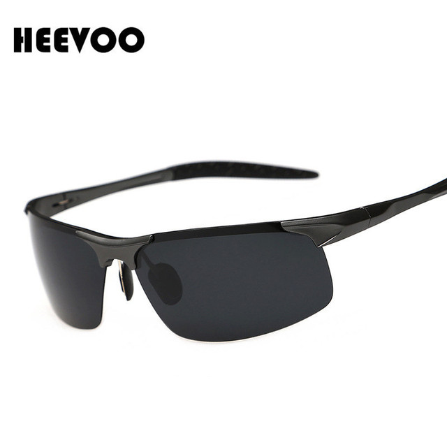 HEEVOO Aluminum Magnesium Sunglasses Polarized Sports Men Coating Mirror Driving Sun Glasses oculos Male Eyewear Accessories