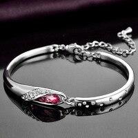 Jemmin Genuine S925 Sterling Silver Bracelets For Women Natural Crystal Bangle Bracelets Fine Jewelry Birthday Gift