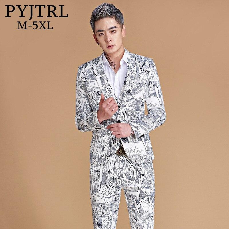 e534e6f7a0296 PYJTRL 2018 New Men Plus Size 5XL Fashion Casual Black White Geometry Style  Suits Jacket With Pants ...