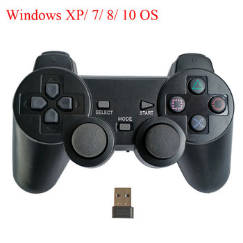 PC game controller with double vibration and PC-360 mode for Windows 7/ 8/ 10, wireless gamepad with mini USB adapter