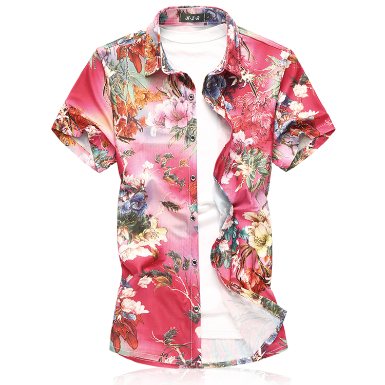 Men Fashion Short Sleeve Silk Hawaiian Shirt Men Summer Casual Floral Shirts Man Plus Size 3XL 4XL 5XL 6XL 7XL Dropship