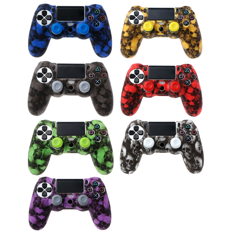 Skull Silicone Gamepad Cover <font><b>Case</b></font> + 2 Joystick Caps For <font><b>PS4</b></font> Pro Slim Controller image