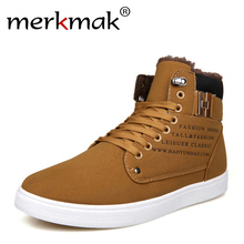 Merkmak Newly Ankle Men Boots 2016 Autumn Winter Wedge Fashion Fur Warm Winter Boots For Man British Style Casual High Top Shoes