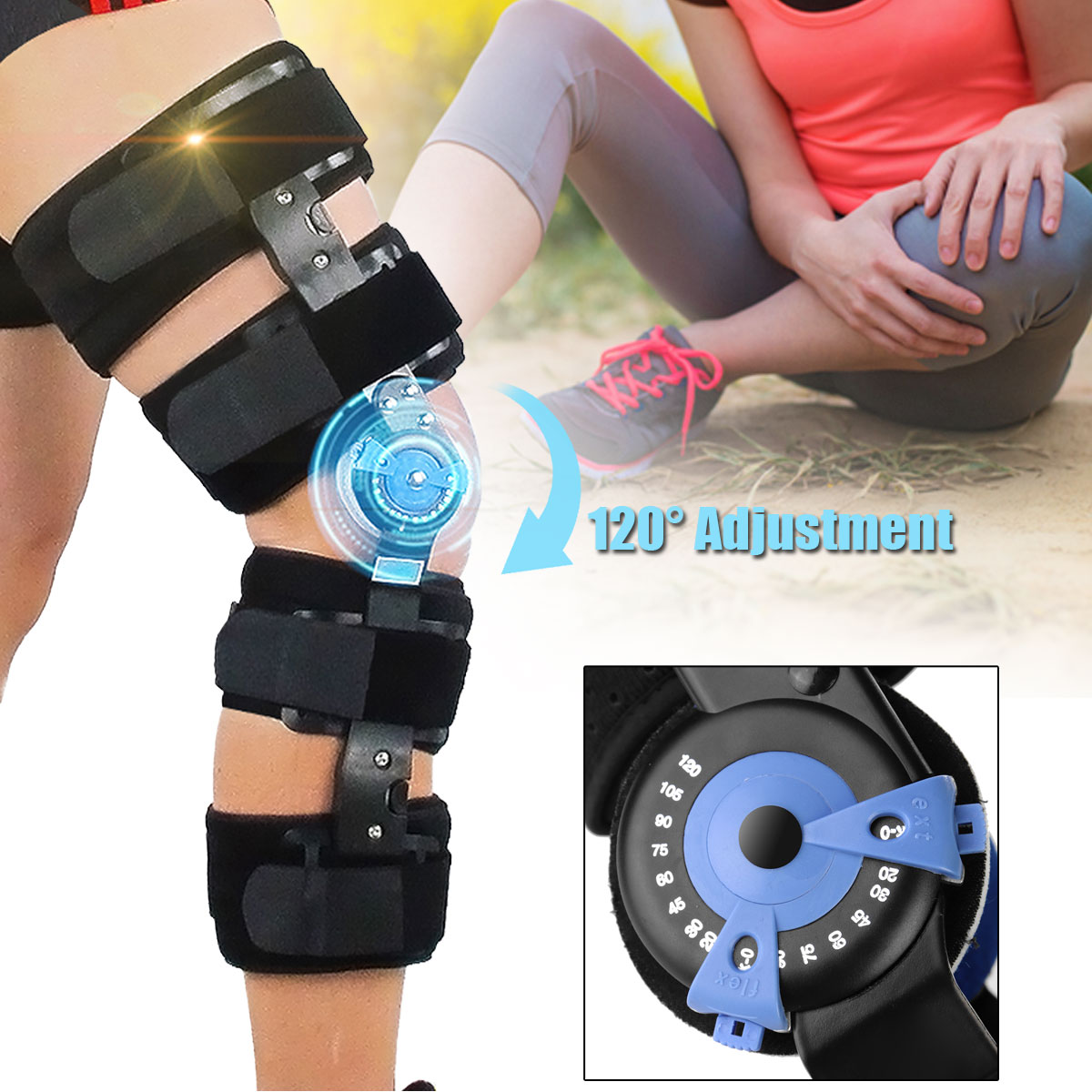 KIFIT ROM Medical Grade 0-120 Degrees Adjustable Hinged Knee Leg Brace Support & Protect Knee kifit rom medical grade 0 120 degrees adjustable hinged knee leg brace support