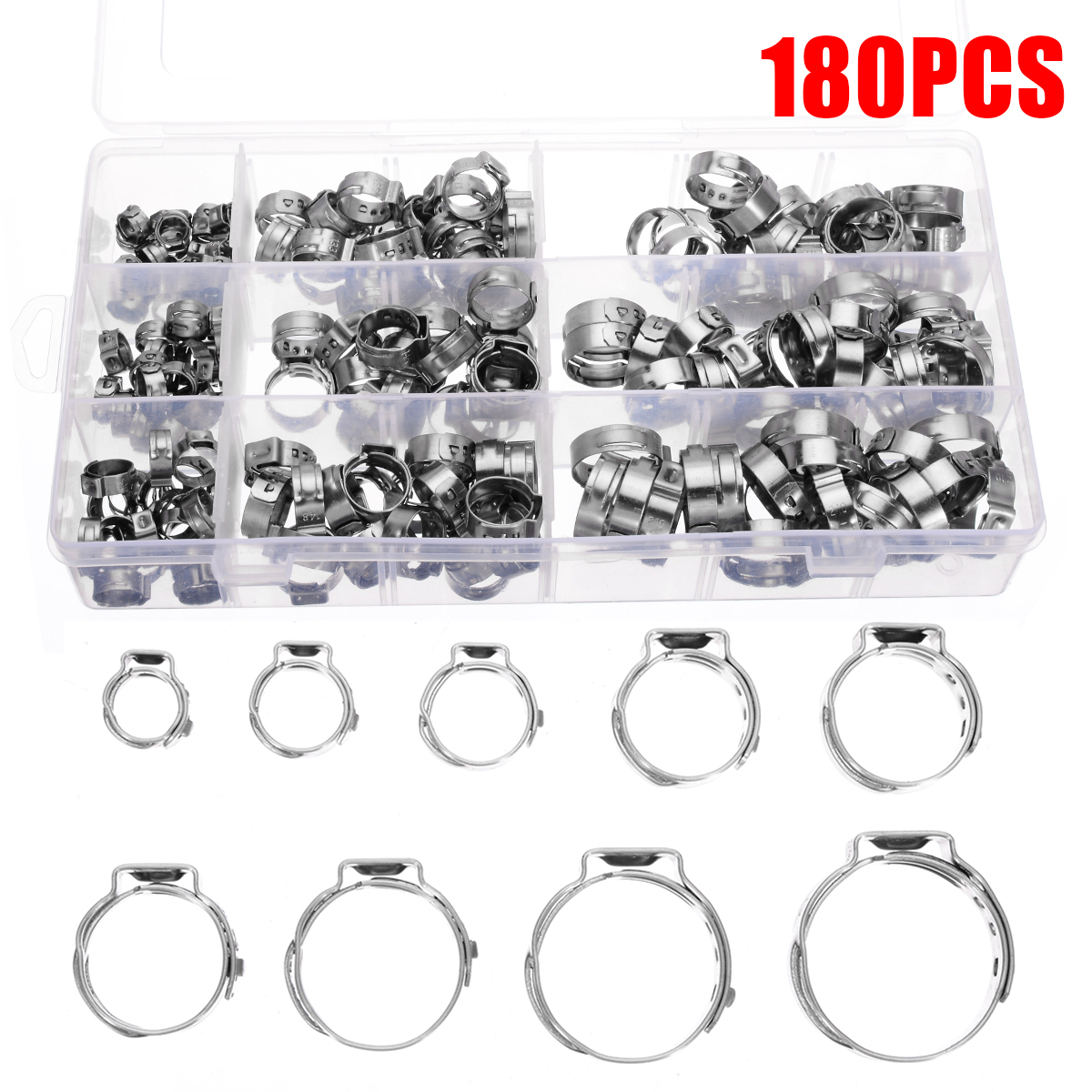 180pcs/kit Stainless Steel Single Ear Hose Clamp Hose Clamp Assortment Kit Ear Stepless Cinch Rings Crimp Pinch Fit 5.8-21mm