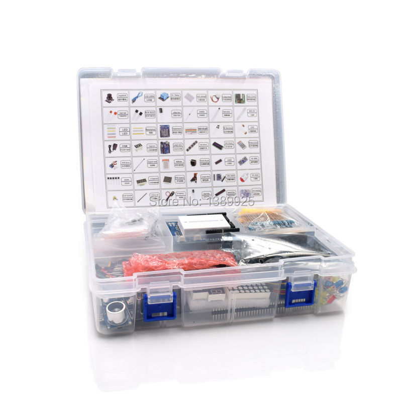 Ultimate Starter Kit incluyendo sensor ultrasónico, uno R3, LCD1602 pantalla para Arduino Uno Mega2560 uno nano con caja de plástico