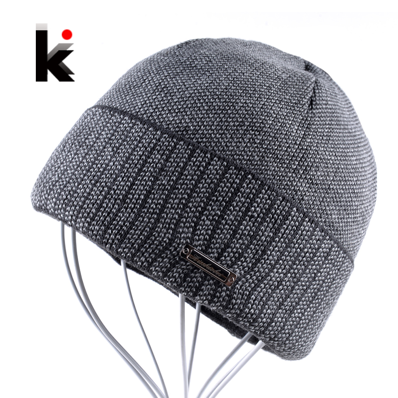 2017 Mens Skullies Autumn And Winter Beanie Hat Knitted Wool Men Cap Skullies Bonnet Hats For Men Toucas De Inverno wool skullies cap hat 10pcs lot 2289