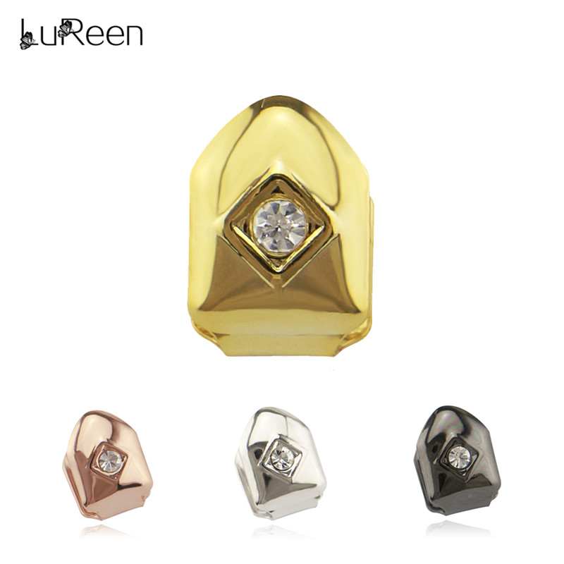 LuReen Punk Rhinestone Gold Teeth Grills Top & Bottom Hiphop Single Grills Cosplay Tooth Caps Halloween Party Jewelry LD0025