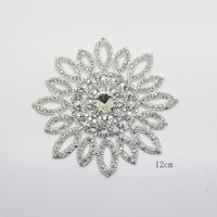 1pcs 12CM Silver Round Crystal Rhinestone Applique Bridal Wedding Sash And Belt Rhinestone Appliques For Evening