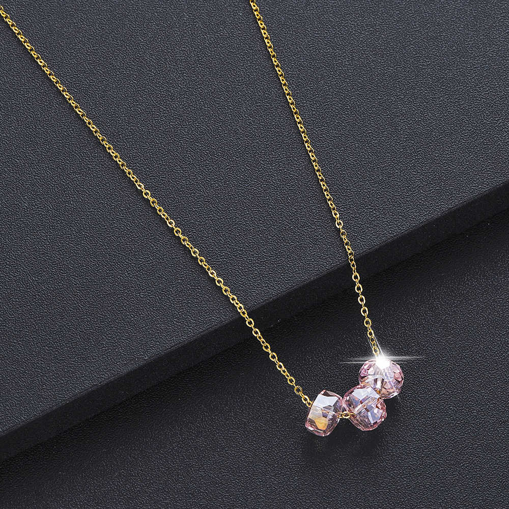 Colorful Crystal Stone Beads Necklace For Women Luxury Statement Jewelry DIY Handmade Gold Pendant Necklaces Female Gift