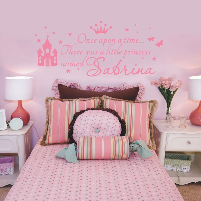 Nursery Art For Children Kids Wall Art Baby Girl Nursery Baby: W380 Custom Name Princess Girl Wall Sticker For Kids Rooms