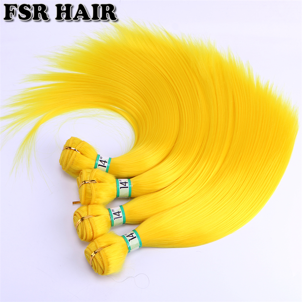 FSR 100 Gram One Piece Yellow Pink Cosplay Silky Straight Hair Bundles 14-24 Inch High Temperature Synthetic Hair Weaving