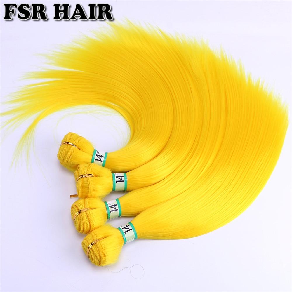 Слитные шелковистые прямые пучки волос для косплея FSR 100 г желтого и розового цвета, термостойкие синтетические волосы для плетения волос ...