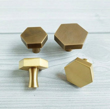 Brass Hexagon Knobs Antique Bronze Cabinet Knob Handle Dresser Drawer Pulls HandleS Kitchen Furniture Hardware