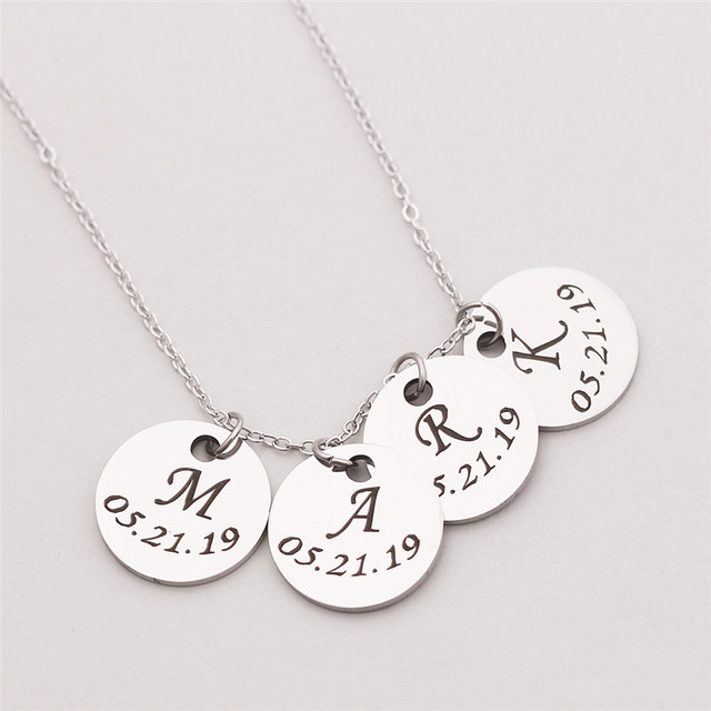 Personalized Initial with Custom Date Disc Pendant Necklace