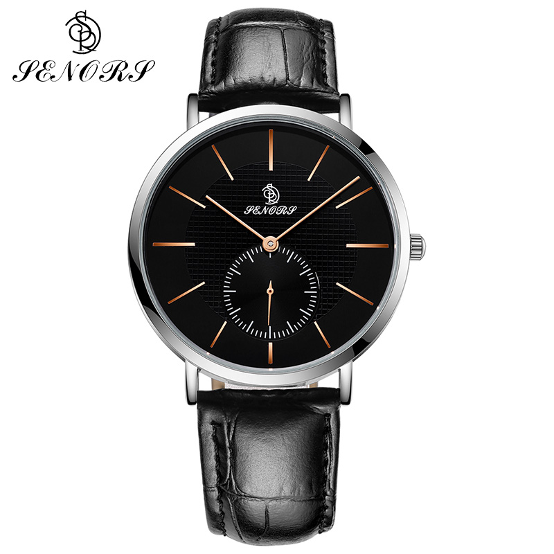Men's Watches SENORS Fashion Sports Quartz-watch Leather Watches Women Clock Men Wristwatch Top Brand Luxury Watch For Men