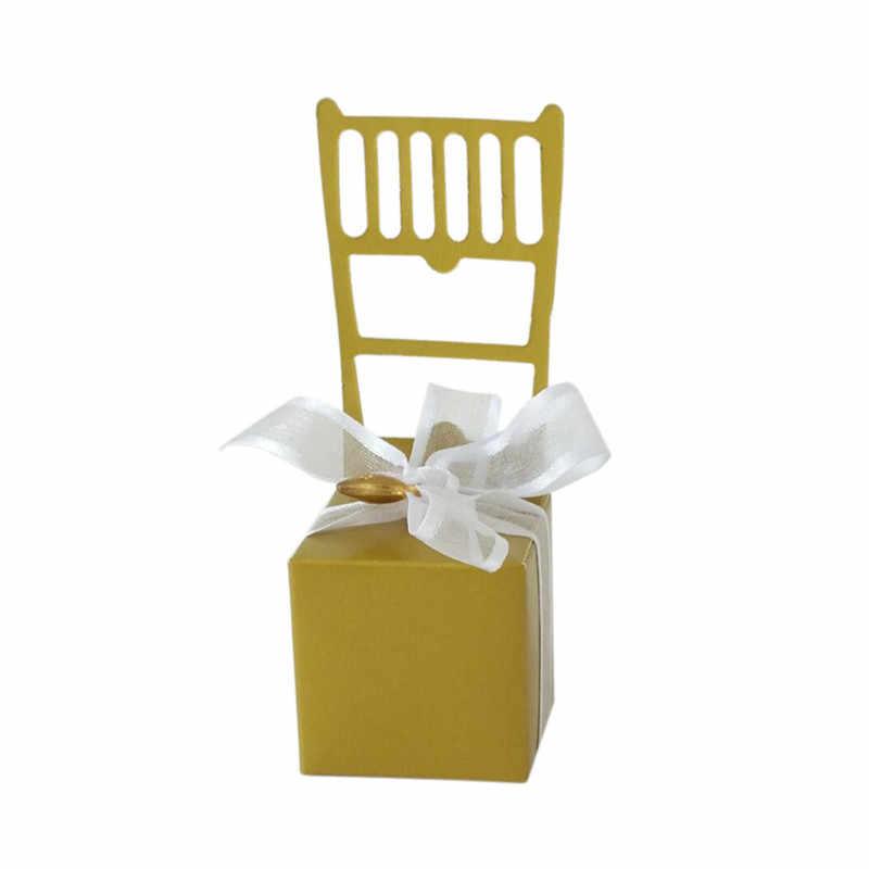 Председатель место держатель коробка для свадебных сувениров события вечерние поставки творческий цвет серебристый, Золотой стулья коробка конфет с резиновый детский душ подарочная коробка