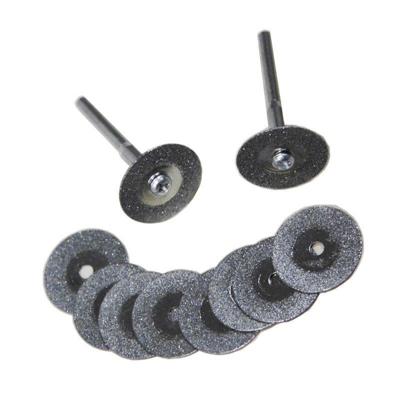 10pcs 20mm Diamond Disc Set Cutting Wheels 3.2mm Mandrel Mini Drill Accessories For Dremel Rotary Tool