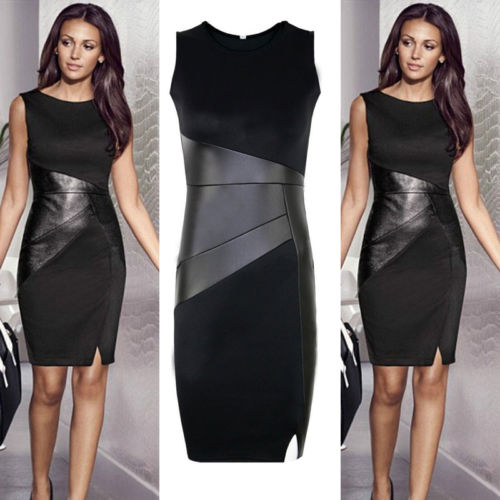 hirigin <font><b>2017</b></font> <font><b>Sexy</b></font> <font><b>Women</b></font> <font><b>Mini</b></font> <font><b>Dress</b></font> Patchwork Sleeveless O-neck Slim Bodycon Leather Evening Party Club wear Black image