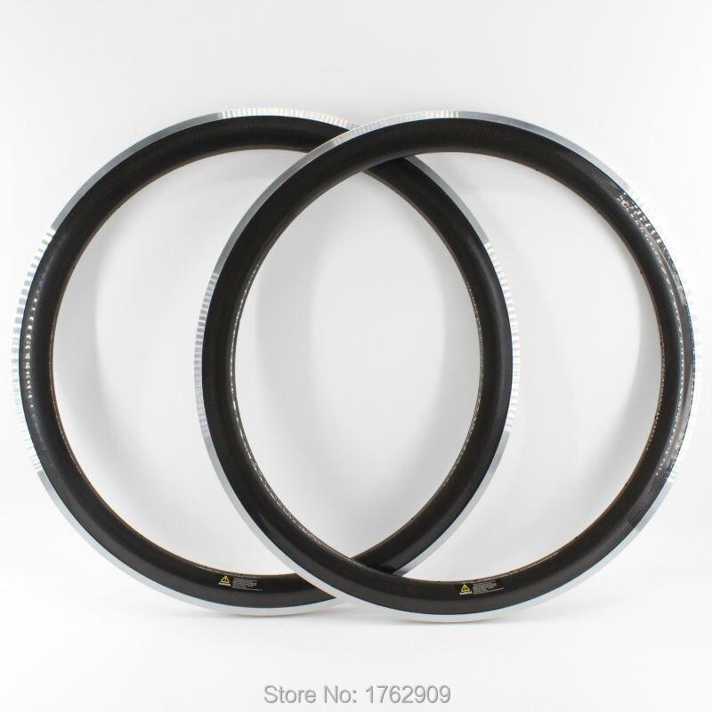 2Pcs New 700C 50mm clincher rims light Road bike 3K UD 12K carbon fibre bicycle wheelsets